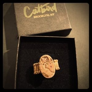 """Auth Catbird """"The Watch Face"""" Gold & Ruby Ring"""